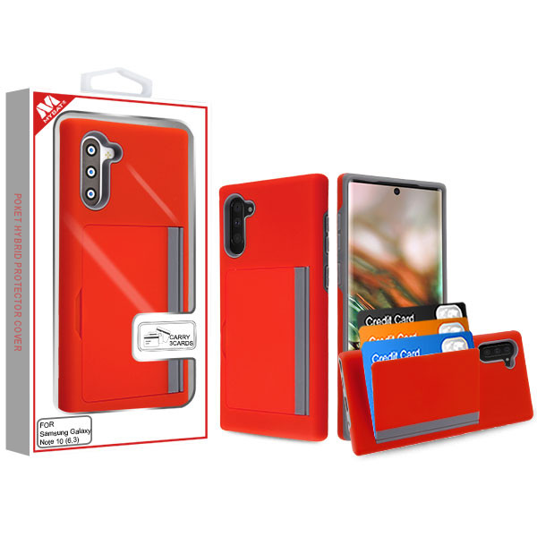 MyBat Poket Hybrid Protector Cover (with Back Film) for Samsung Galaxy Note 10 (6.3) - Red / Gray