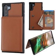 MyBat Flip Wallet Executive Protector Cover(TPU Case with Snap Fasteners) for Samsung Galaxy Note 10 (6.3) - Brown