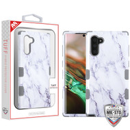 MyBat TUFF Hybrid Protector Cover [Military-Grade Certified] for Samsung Galaxy Note 10 (6.3) - White Marbling / Iron Gray