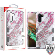 MyBat TUFF Hybrid Protector Cover [Military-Grade Certified] for Samsung Galaxy Note 10 (6.3) - Pink Marbling / Iron Gray