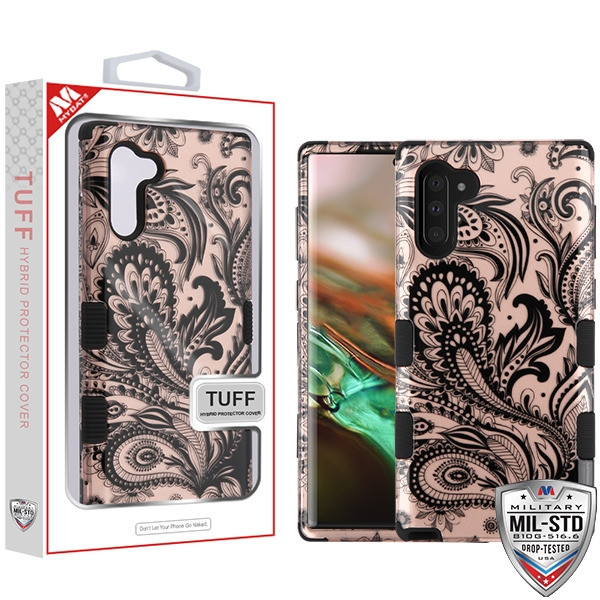 MyBat TUFF Hybrid Protector Cover [Military-Grade Certified] for Samsung Galaxy Note 10 (6.3) - Phoenix Flower (2D Rose Gold) / Black