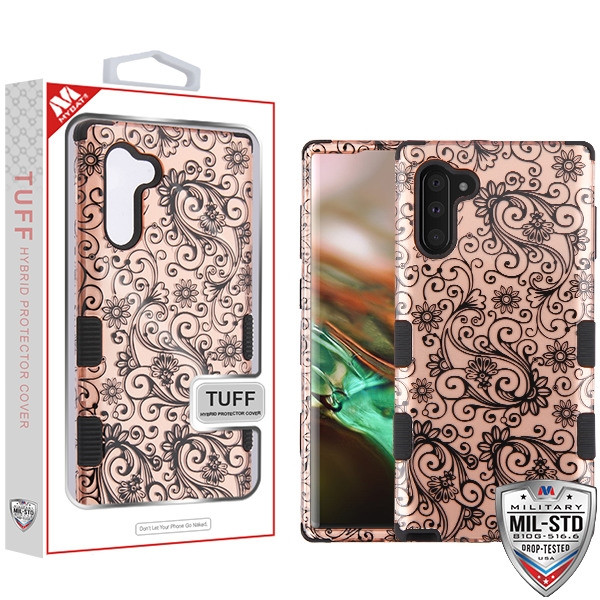 MyBat TUFF Hybrid Protector Cover [Military-Grade Certified] for Samsung Galaxy Note 10 (6.3) - Black Four-Leaf Clover (2D Rose Gold) / Black