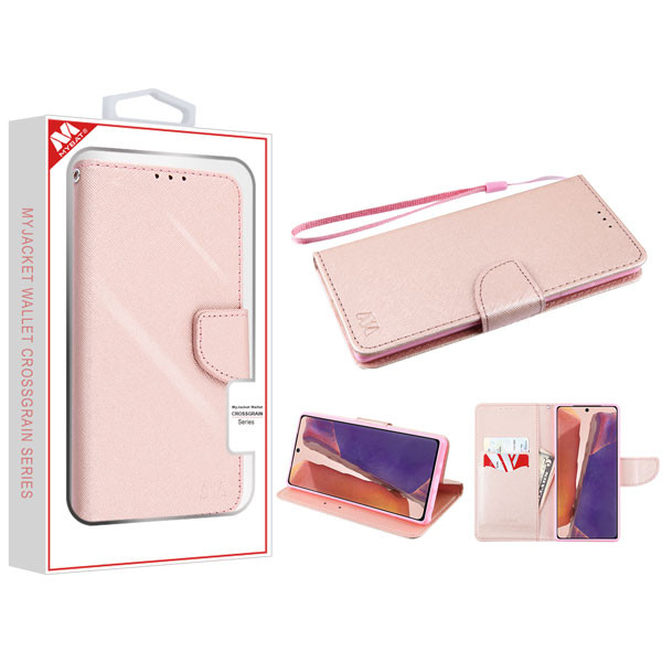 MyBat Liner MyJacket Wallet Crossgrain Series for Samsung Galaxy Note 20 - Rose Gold Pattern / Rose Gold
