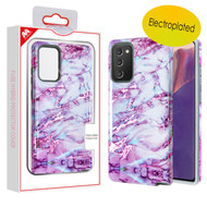 MyBat Fuse Hybrid Protector Cover for Samsung Galaxy Note 20 - Electroplated Purple Marbling / Iron Gray