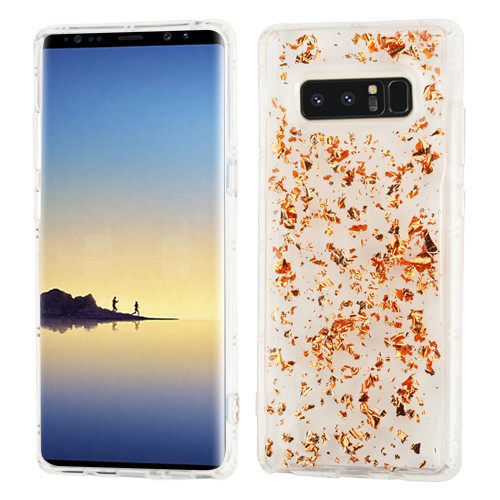 MyBat Krystal Gel Series Candy Skin Cover for Samsung Galaxy Note 8 - Rose Gold Flakes (Transparent Clear)