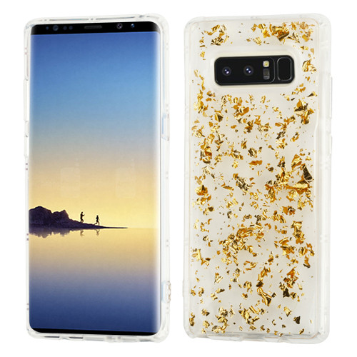 MyBat Krystal Gel Series Candy Skin Cover for Samsung Galaxy Note 8 - Gold Flakes (Transparent Clear)