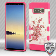 MyBat TUFF Trooper Hybrid Protector Cover [Military-Grade Certified] for Samsung Galaxy Note 8 - Spring Flowers / Electric Pink