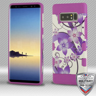 MyBat TUFF Trooper Hybrid Protector Cover [Military-Grade Certified] for Samsung Galaxy Note 8 - Purple Hibiscus Flower Romance / Electric Purple
