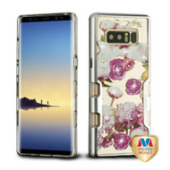 MyBat TUFF Panoview Hybrid Protector Cover for Samsung Galaxy Note 8 - Metallic Silver / Roses Diamante