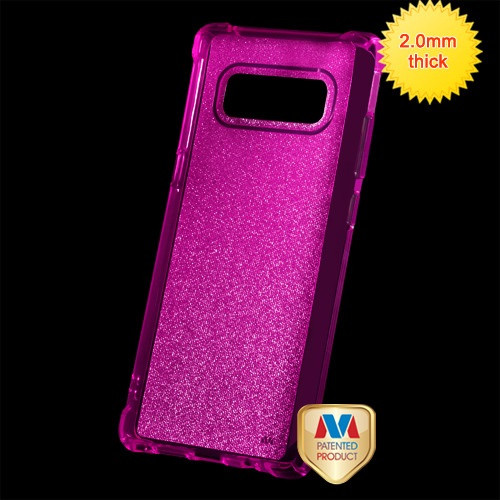 MyBat Sheer Glitter Premium Candy Skin Cover for Samsung Galaxy Note 8 - Transparent Hot Pink