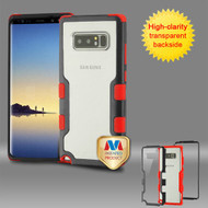 MyBat TUFF Vivid Hybrid Protector Cover for Samsung Galaxy Note 8 - Natural Black Frame+Transparent PC Back / Red