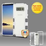 MyBat TUFF Vivid Hybrid Protector Cover for Samsung Galaxy Note 8 - Natural Ivory White Frame+Transparent PC Back / Iron Gray