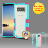 MyBat TUFF Vivid Hybrid Protector Cover for Samsung Galaxy Note 8 - Natural Teal Green Frame+Transparent PC Back / Electric Pink