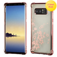 MyBat SPOTS Electroplated Premium Candy Skin Cover for Samsung Galaxy Note 8 - Rose Gold Glassy Spring Flowers