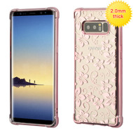 MyBat SPOTS Electroplated Premium Candy Skin Cover for Samsung Galaxy Note 8 - Rose Gold Glassy Hibiscus Flower