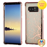 MyBat Sheer Glitter Premium Candy Skin Cover for Samsung Galaxy Note 8 - Rose Gold Electroplating / Maple Vine