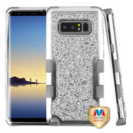 MyBat TUFF Vivid Hybrid Protector Cover for Samsung Galaxy Note 8 - Silver Plating Frame+Silver Mini Crystals Back / Iron Gray