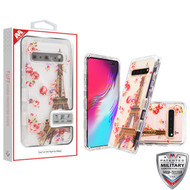 MyBat TUFF Lucid Hybrid Protector Cover [Military-Grade Certified] for Samsung Galaxy S10 5G - Transparent Clear / Paris in Full Bloom