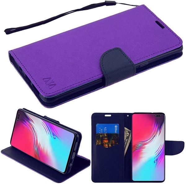 MyBat Liner MyJacket Wallet Crossgrain Series for Samsung Galaxy S10 5G - Purple Pattern / Dark Blue