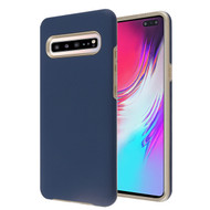 MyBat Fuse Hybrid Protector Cover for Samsung Galaxy S10 5G - Rubberized Ink Blue / Metallic Gold
