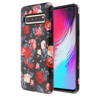 MyBat Fuse Hybrid Protector Cover for Samsung Galaxy S10 5G - Red and White Roses / Black
