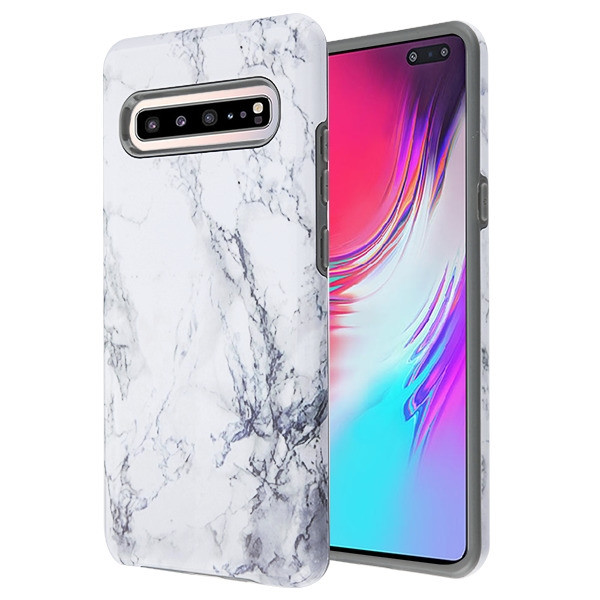 MyBat Fuse Hybrid Protector Cover for Samsung Galaxy S10 5G - White Marbling / Iron Gray