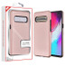 MyBat Fuse Hybrid Protector Cover for Samsung Galaxy S10 5G - Rose Gold Carbon Fiber Texture / Black