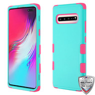 MyBat TUFF Hybrid Protector Cover [Military-Grade Certified] for Samsung Galaxy S10 5G - Natural Teal Green / Electric Pink