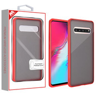 MyBat Frost Hybrid Protector Cover for Samsung Galaxy S10 5G - Semi Transparent Smoke Frosted / Rubberized Red