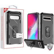 MyBat Brigade Hybrid Protector Cover (with Ring Stand) for Samsung Galaxy S10 5G - Black / Black