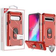MyBat Brigade Hybrid Protector Cover (with Ring Stand) for Samsung Galaxy S10 5G - Red / Black