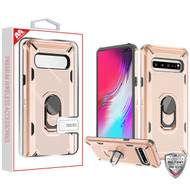 MyBat Brigade Hybrid Protector Cover (with Ring Stand) for Samsung Galaxy S10 5G - Rose Gold / Black