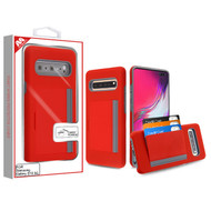 MyBat Poket Hybrid Protector Cover (with Back Film) for Samsung Galaxy S10 5G - Red / Gray