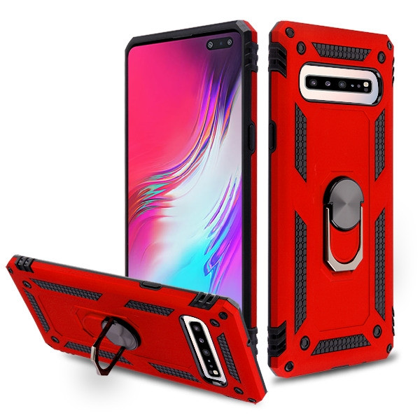 MyBat Anti-Drop Hybrid Protector Cover (with Ring Stand) for Samsung Galaxy S10 5G - Red / Black