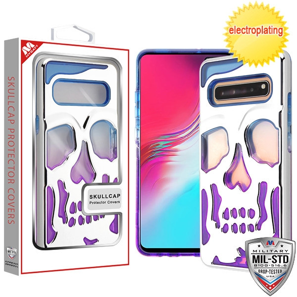 MyBat SKULLCAP Lucid Hybrid Protector Cover [Military-Grade Certified] for Samsung Galaxy S10 5G - Silver Plating / Blue / Purple