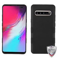 MyBat TUFF Hybrid Protector Cover [Military-Grade Certified] for Samsung Galaxy S10 5G - Rubberized Black / Black