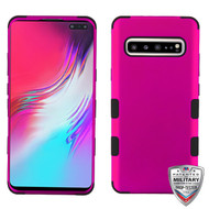 MyBat TUFF Hybrid Protector Cover [Military-Grade Certified] for Samsung Galaxy S10 5G - Titanium Solid Hot Pink / Black