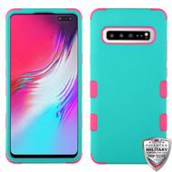 MyBat TUFF Hybrid Protector Cover [Military-Grade Certified] for Samsung Galaxy S10 5G - Rubberized Teal Green / Electric Pink