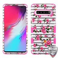 MyBat TUFF Hybrid Protector Cover [Military-Grade Certified] for Samsung Galaxy S10 5G - Pink Fresh Roses / Electric Pink