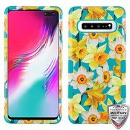 MyBat TUFF Hybrid Protector Cover [Military-Grade Certified] for Samsung Galaxy S10 5G - Spring Daffodils / Tropical Teal