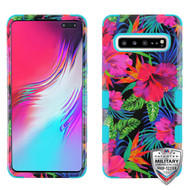 MyBat TUFF Hybrid Protector Cover [Military-Grade Certified] for Samsung Galaxy S10 5G - Electric Hibiscus / Tropical Teal