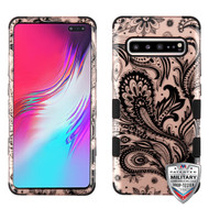 MyBat TUFF Hybrid Protector Cover [Military-Grade Certified] for Samsung Galaxy S10 5G - Phoenix Flower (2D Rose Gold) / Black