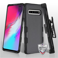 MyBat TUFF Hybrid Protector Case Combo [Military-Grade Certified](with Black Horizontal Holster) for Samsung Galaxy S10 5G - Natural Black / Black