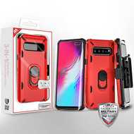 MyBat 3-in-1 Brigade Hybrid Protector Cover Combo (with Black Holster)(with Ring Stand)(with Full-coverage Screen Protector) for Samsung Galaxy S10 5G - Red / Black