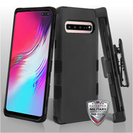 MyBat TUFF Hybrid Protector Case [Military-Grade Certified](with Black Horizontal Holster) for Samsung Galaxy S10 5G - Rubberized Black / Black