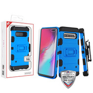 MyBat 3-in-1 Storm Tank Hybrid Protector Cover Combo (with Black Holster)(with Full-coverage Screen Protector)[Military-Grade Certified] for Samsung Galaxy S10 5G - Blue / Black