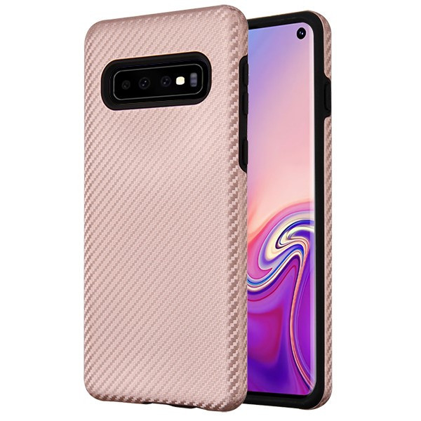 MyBat Fuse Hybrid Protector Cover for Samsung Galaxy S10 - Rose Gold Carbon Fiber Texture / Black