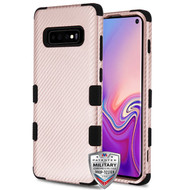 MyBat TUFF Fuse Hybrid Protector Cover for Samsung Galaxy S10 - Rose Gold Carbon Fiber Texture / Black