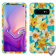 MyBat TUFF Hybrid Protector Cover [Military-Grade Certified] for Samsung Galaxy S10 - Spring Daffodils / Tropical Teal