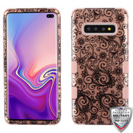 MyBat TUFF Hybrid Protector Cover [Military-Grade Certified] for Samsung Galaxy S10 plus - Black Four-Leaf Clover (2D Rose Gold) / Rose Gold